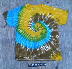 Golden Turquoise and Bronze Spiral Tie Dye Vneck Tshirt