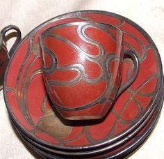 Art Nouveau MAUSER Silver Overlay 5 Demi Cups & 6 Saucers CAC LENOX 1896-1903