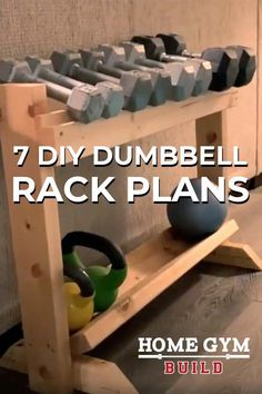 Diy Dumbbell, Kettlebell Rack, Dumbbell Rack, Cheap Home Gym, Diy Home Gym, Garage Gym, Garage House, Wooden Rack, Wooden Diy