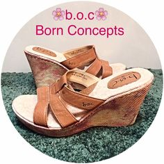 B.o.c Born Concept Leather Fancy Wedges 9 Add a fun feminine twist to your wedges this season with these floral design espadrille slip on sandals by b.o.c Born Concepts. Tan leather straps - generously cushioned footbed with arch support - rubber bottom sole - excellent condition with only real sign of wear to unseen bottom soles. Size 9 Born Shoes Sandals
