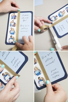 DIY Wedding // How to make simple and darling photo strip Save the Date invitations with FREE design downloads!