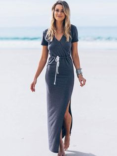 651341f723 Swimsuit Cover Up 2017 Women Sexy Beach Cover-Ups side slit Long Dress Solid  blue bandage Beach Cardigan Bathing Suit Cover Up