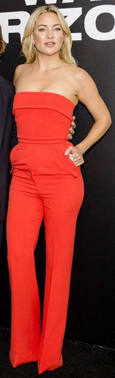 Who made  Kate Hudson's red strapless jumpsuit, jewelry, and platform shoes?