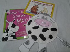 """Storytime - theme COWS; read books: """"How to speak Moo"""" and """"Who sank the Boat?""""; make a paper plate cow"""