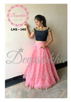 Embroidery Hand LHS Beautiful pink color floral lehenga and black color boat neck blouse. Blouse with hand embroidery gold thread work on neck line and sleeve. For queries kindly WhatsApp : 919059683293 25 May 2018 - Long Skirt Top Designs, Long Skirt And Top, Long Dress Design, Dress Neck Designs, Blouse Designs, Lehnga Dress, Frock Dress, Lehenga Blouse, Lehenga Choli