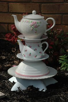 Yard Art Garden Totem  Pink and White Teapots by RecycledBySkattur,