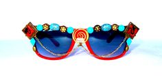 Red and Turquoise Embellished Decorated Sunglasses, Burning Man Festival Sunglasses by EvoSpiritArts on Etsy