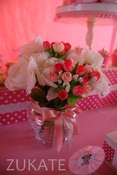 Flowers at a Minnie Mouse shabby chic birthday party! See more party ideas at CatchMyParty.com!