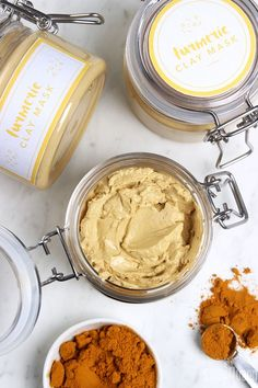 Make a natural Turmeric Clay Face Mask, made with turmeric powder, kaolin clay, avocado oil and essential oil. Turmeric powder makes your skin feel amazing!