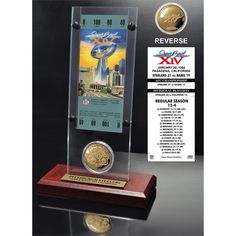 27cc6d60609 NFL Super Bowl 14 Ticket and Game Coin Collection (NFL TICKET ACRYLIC)