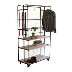 Kalalou Rolling Closet On Metal Casters - This versatile rolling storage rack is… Wood Storage Rack, Storage Shelves, Closet Shelves, Closet Storage, Office Storage, Bedroom Storage, Rolling Clothes Rack, No Closet Solutions, Rolling Storage