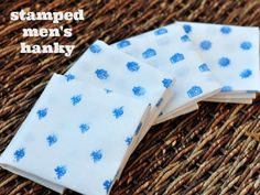 Stamped Men's Handkerchief DIY Tutorial - just in time for Father's Day