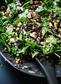 Arugula, Dried Cherry and Wild Rice Salad with a Zippy Lemon Dressing (Pomegranate instead of dried cherry)