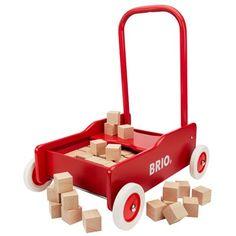 BRIO lære-gå-vogn med 50 byggeklodser Rød