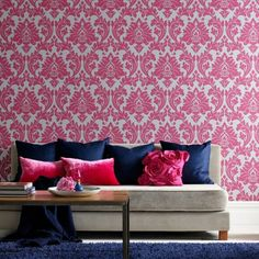 Fuschia and Navy -- Graham and Brown Superfresco Easy Majestic Wallpaper