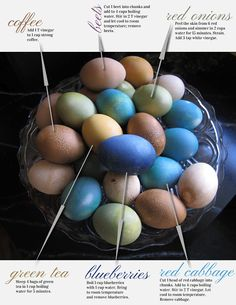 Natural egg dyeing recipes