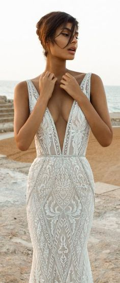 "Gala by Galia Lahav 2017 Wedding Dresses — Bridal Collection no. III Gala by Galia Lahav is the premium made-to-order bridal line from Galia Lahav. The latest collection, ""Gala No. III"", takes its inspiration V Neck Wedding Dress, Elegant Wedding Dress, Dream Wedding Dresses, Bridal Dresses, V Neck Fit And Flare Wedding Dress, Sheath Lace Wedding Dress, Fitted Wedding Dresses, Wedding Dressses, Open Back Wedding Dress"