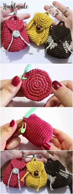 Newest Totally Free mini Crochet gifts Ideas Crochet Mini Backpack Purse Crochet Diy, Love Crochet, Crochet Gifts, Beautiful Crochet, Crochet Hooks, Ravelry Crochet, Yarn Projects, Crochet Projects, Sewing Projects