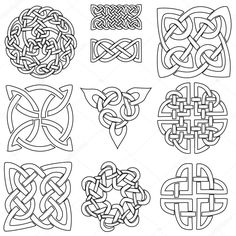 Un insieme di dieci disegni celtici pronti per essere colorato