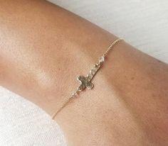 Personalized Bracelet - Hammered Gold Filled or Sterling Cross Bracelet - Gold Name Bracelet - Religious Bracelet.