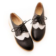 Personalized Black Silver Flat Lace Up Nautical Dress Oxford Shoes Women SKU-1090711