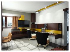 Multifunctional room - home office, dinning and living Old Building, One Bedroom, Small Apartments, Multifunctional, Home Office, House Ideas, Modern, Table, Furniture