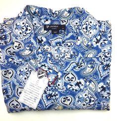 NEW Cremieux Paisley Short Sleeve Shirt - Size L Blue #Cremieux #ButtonFront