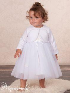 Karlotte - verspieltes Mädchenkleid in Weiss - inklusive Bolero - Alles für die Taufe & Kommunion bei Princessmoda.de