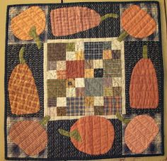 Trick or Treat 12 x 27.5 Hand Quilted Cheri Payne Quilt Holiday Quilt Halloween Quilt Hand Applique Pumpkins Machine Pieced
