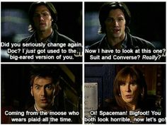 SuperWho featuring some awesome Donna :) ON a side note though, I think it's more likely Dean would react this way, not Sam