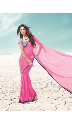 Presenting the #exclusive #R #Rajkumar collection of neon #pink #chiffon fabric #saree with fancy embroidered border. It comes with heavy designer embroidered blouse and net sleeve.