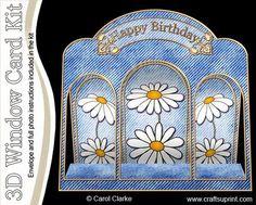 3D Denim n Daisies Window Card Kit with decoupage n envelope
