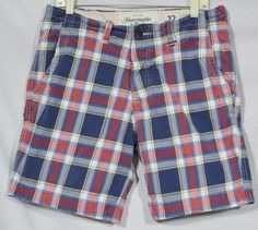 ABERCROMBIE & FITCH Men's Blue/White/Red Plaid Shorts 32 Button Fly 4 Pockets #AbercrombieFitch #CasualShorts