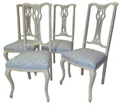 Set of 4 Shabby Chic Annie Sloan Chairs - Dining / Kitchen -   Stuffing and Springs Upholstery MISI Handmade Shop