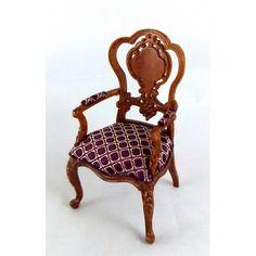 Dolls House Finest Miniature Furniture Platinum Monte Carlo Walnut Elbow Chair