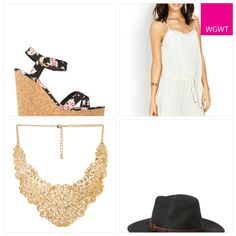 Floral and lace, the ultimate in feminine. Try this lace shift dress, floral wedges, gold statement necklace and fedora hat. #WGWT