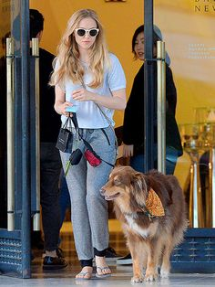 AMANDA SEYFRIED   Whatcha got there? Seyfried and her Australian shepherd, Finn, pick up some goodies during a shopping trip in Beverly Hills on Tuesday. http://www.peoplepets.com/people/pets/gallery/0,,20865469,00.html?stitched