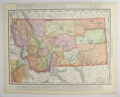 Antique Montana Map, Idaho State Map 1898 Vintage Map of Montana, ID Map MT…