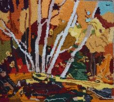 Autumn Birches from a Tom Thompson painting hooked by Lucille Gravel