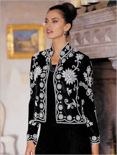 Lavished with opulence, this Mandarin collar jacket features elaborate floral art in iridescent seed beads and micro sequins. The art can also be seen at the back shoulder. With an open front and long sleeves. Length: Misses 24''; Petites 23''; Women's 26''. Imported. Polyester, and polyester lined. Spot clean. Do not dry clean.