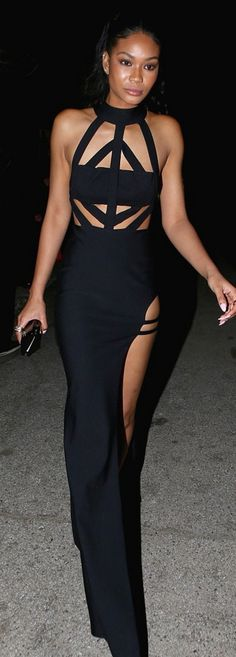 Who made Chanel Iman's black cut out gown?