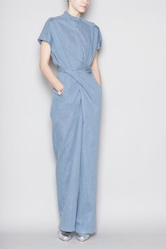 Christian Wijnants - Oulu Tie Waist Jumpsuit - Denim- Yes plz and thanks Jumpsuit Elegante, Mode Jeans, Overall, Victoria Beckham, Everyday Fashion, Fashion Models, Fashion Designers, Casual Outfits, Women Wear