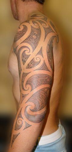Cool Maori Tribal Tattoo Designs For Men On Sleeve, tribal tattoo gallery, tribal tattoos men ~ Look My Tattoo Maori Tattoos, Tattoos Bein, Ta Moko Tattoo, Backpiece Tattoo, Tribal Tattoos For Men, Tribal Sleeve Tattoos, Neue Tattoos, Arm Tattoos For Guys, Body Art Tattoos