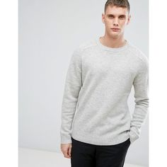 Selected Homme Knitted Jumper In 100% Lambswool (1.398.905 IDR) ❤ liked on Polyvore featuring men's fashion, men's clothing, men's sweaters, grey, mens grey sweater, mens lambswool sweater, mens jumpers, mens gray sweater and mens crewneck sweaters