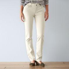 Women's SONOMA Goods for Life™ Sateen Slim Straight-Leg Pants, Size: 10 Short, White Oth