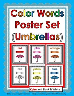 Color Words Poster Set - Balloons Theme