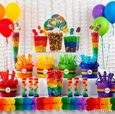 Rainbow Candy Buffet Ideas l St. Patrick's Day Party Fun l Party City l Rainbow Parties, Rainbow Birthday Party, 1st Birthday Parties, Birthday Ideas, Rainbow Theme, Rainbow Colors, Rainbow Ribbon, Birthday Candy, Colorful Birthday