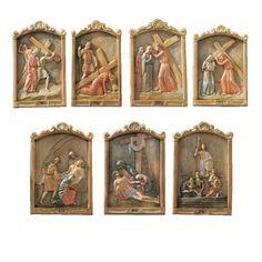 Vía Cruz 15 estaciones relieve madera pintada