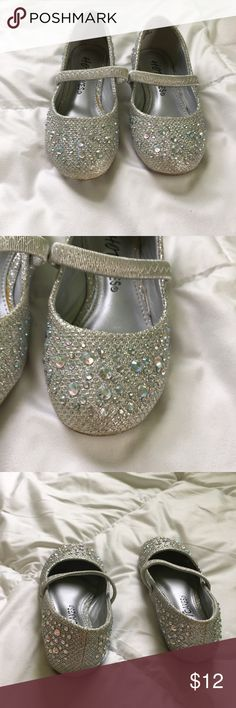 Rhinestone dress shoes toddler I nearly cried when I found out my little one had outgrown these! They're very sparkly and absolutely beautiful! Worn one time for a wedding, look brand new. Shoes Dress Shoes