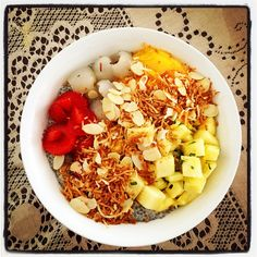 A bowl of goodness for brekkie..  Vanilla-Almond Chia Breakfast Pudding  w Basil Pineapple Salad, Mango, Lychee, Strawberry & Toasted Coconuts   #mealforameal #instafood #foodelicious #brekkie #breakfast #chia #breakfastpudding #toastedcoconuts #basil #pineapplesalad #mango #lychee #strawberry #healthyeating #yummygoodness #vanilla #almondmilk #almondcoconutmilk #almond #pineapple #lime